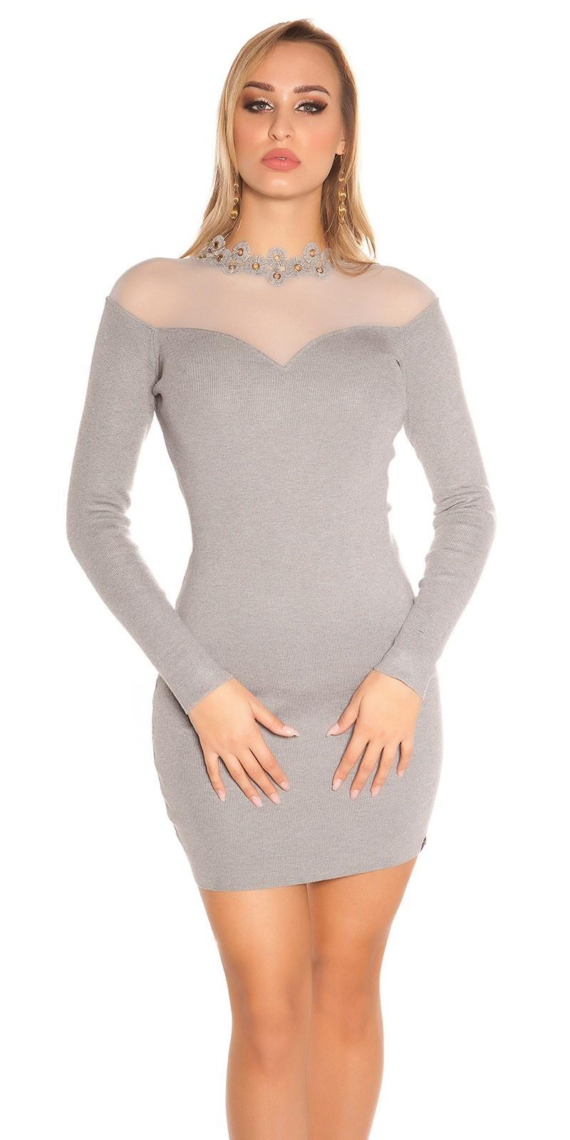 Sexy fijn gebreide jurk met gaasstof grijs