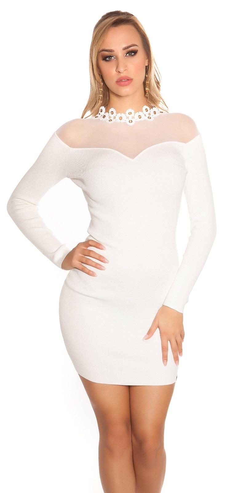 Sexy fijn gebreide jurk met gaasstof wit