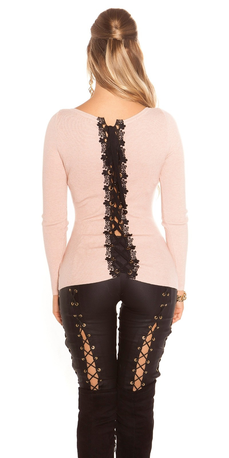 Sexy KouCla sweater with lacing & embroidery Antiquepink