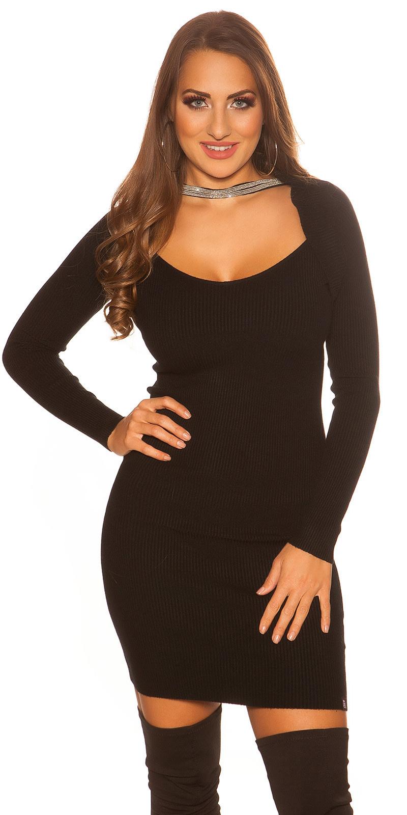 Sexy KouCla 2in1 Bolero knit dress with decors Black