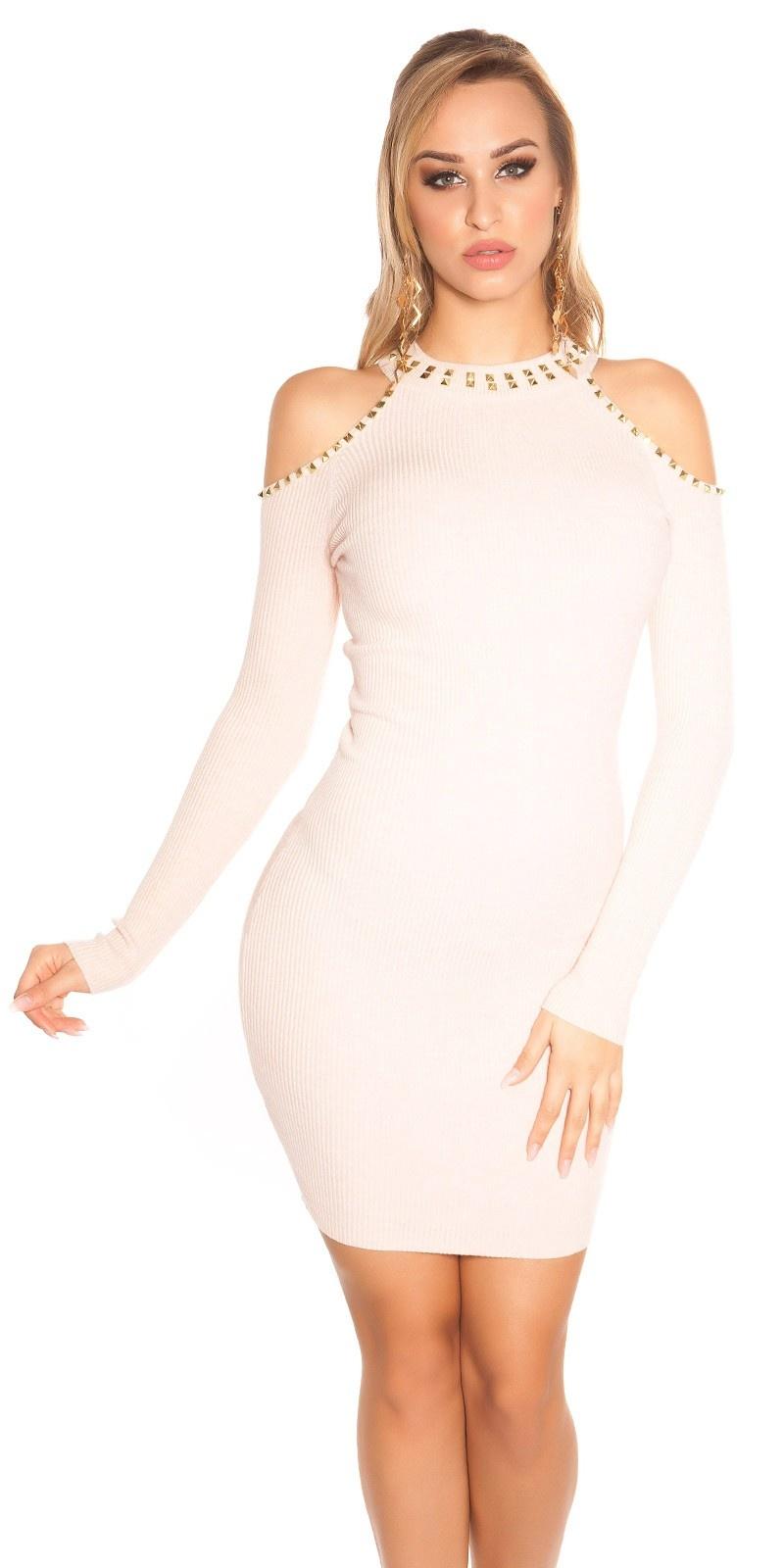 Sexy blote schouder gebreide jurk met klinknagels antiekroze