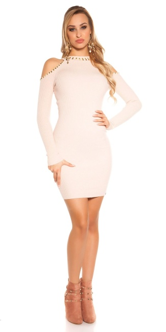Sexy KouCla Cold shoulder knit dress with rivets Antiquepink