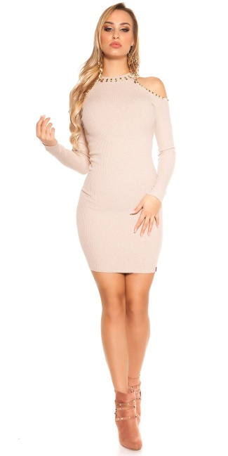 Sexy KouCla Cold shoulder knit dress with rivets Beige
