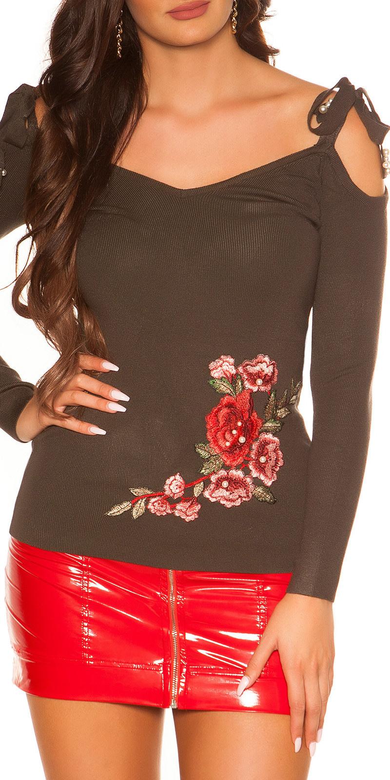 Trendy blote schouder sweater-trui met borduurwerk khaki