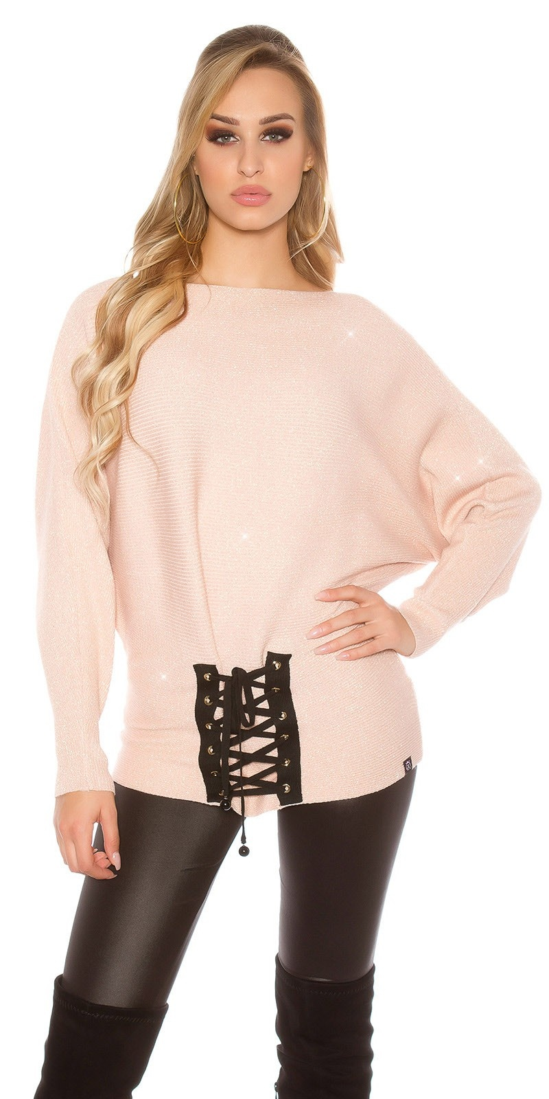 Trendy KouCla glitter bat jumper with lacing Antiquepink