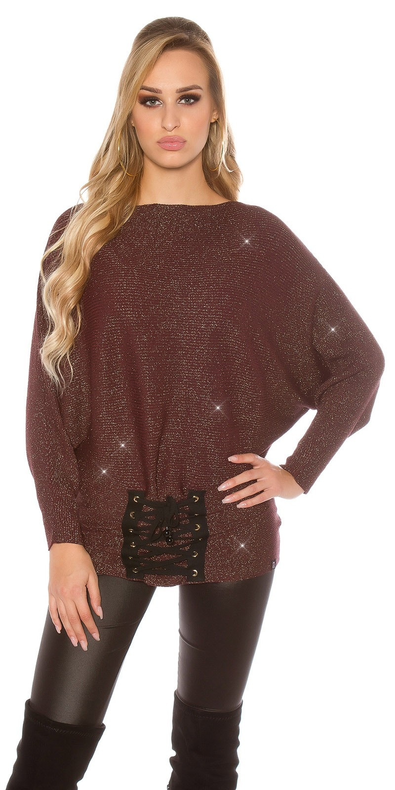 Trendy KouCla glitter bat jumper with lacing Bordeaux