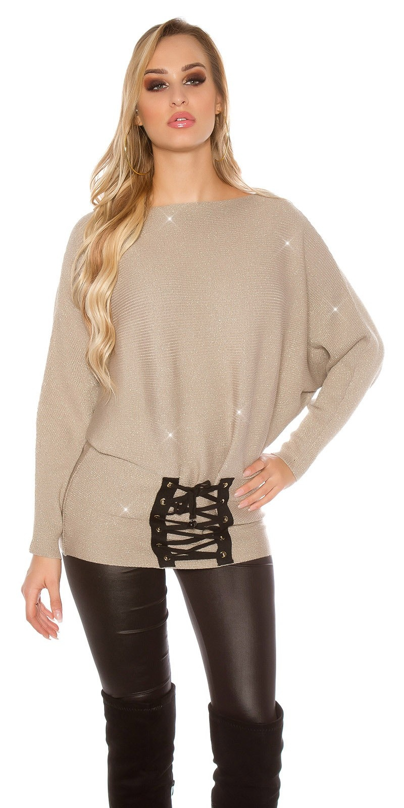 Trendy KouCla glitter bat jumper with lacing Cappuccino