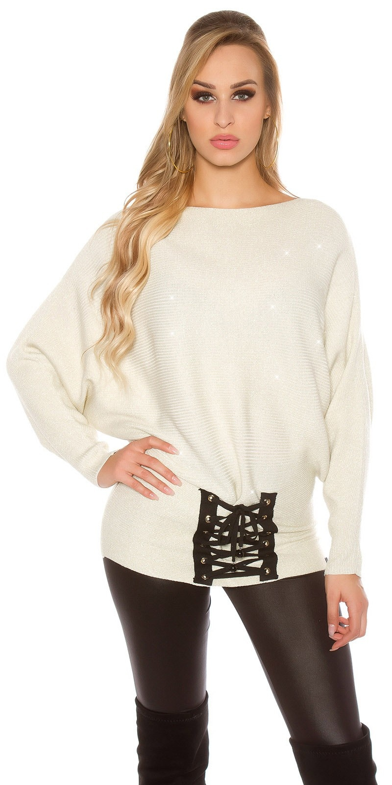 Trendy KouCla glitter bat jumper with lacing Cream
