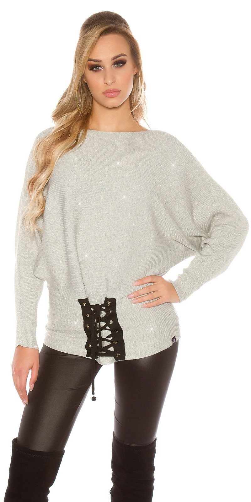 Trendy KouCla glitter bat jumper with lacing Grey