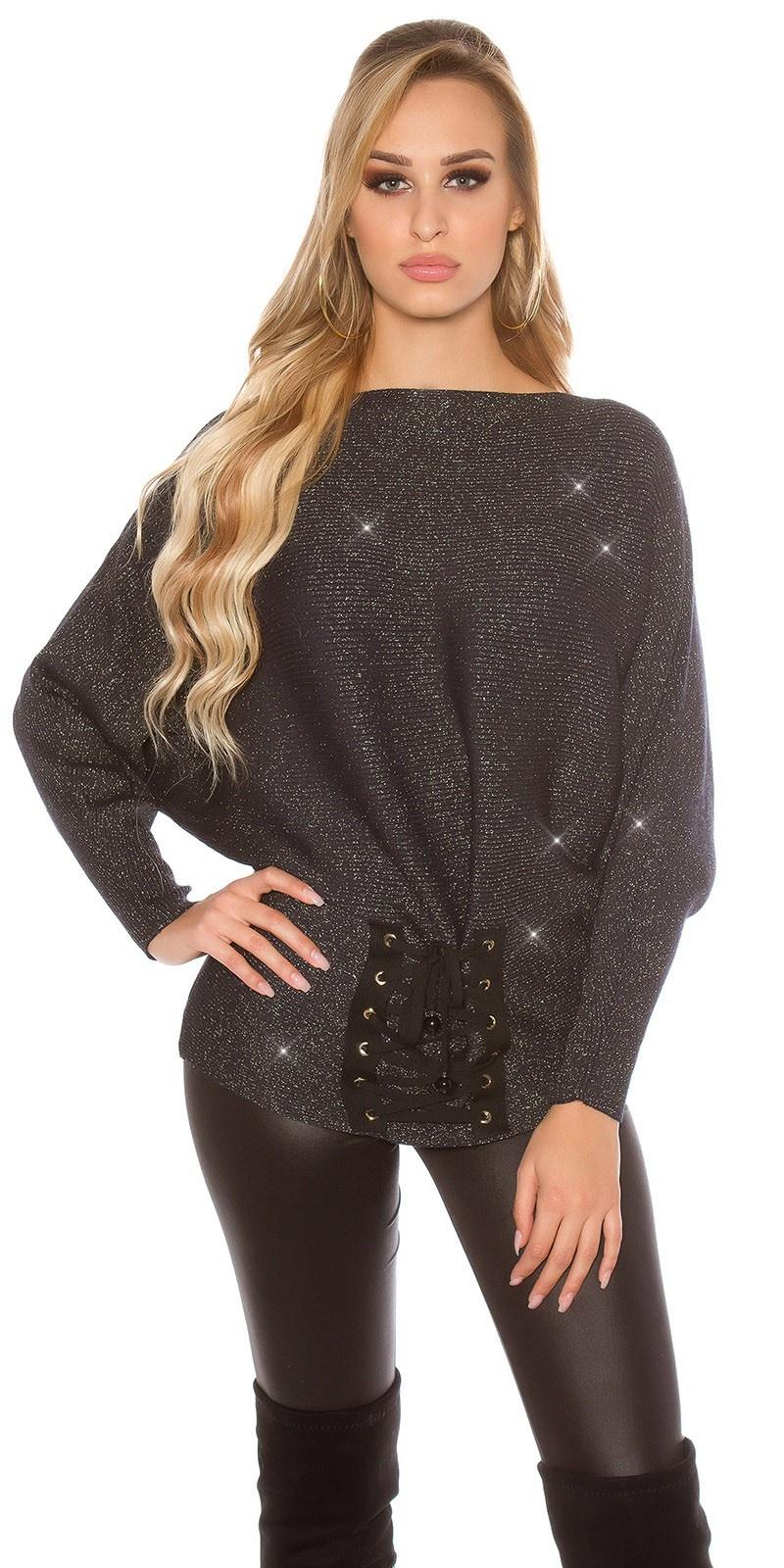 Trendy glitter vleermuis-trui met veter marineblauw