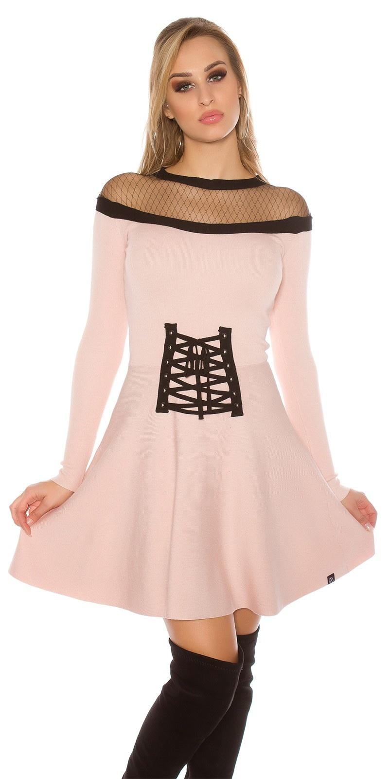Sexy gebreide jurk met gaasstof & corsage decoratie antiekroze
