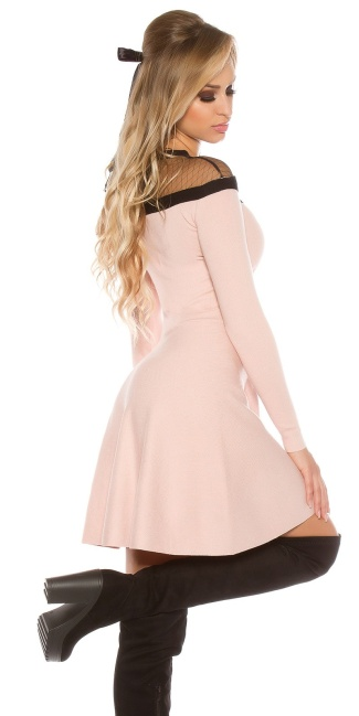 Sexy KouCla knit dress w. mesh & corsage deco Antiquepink