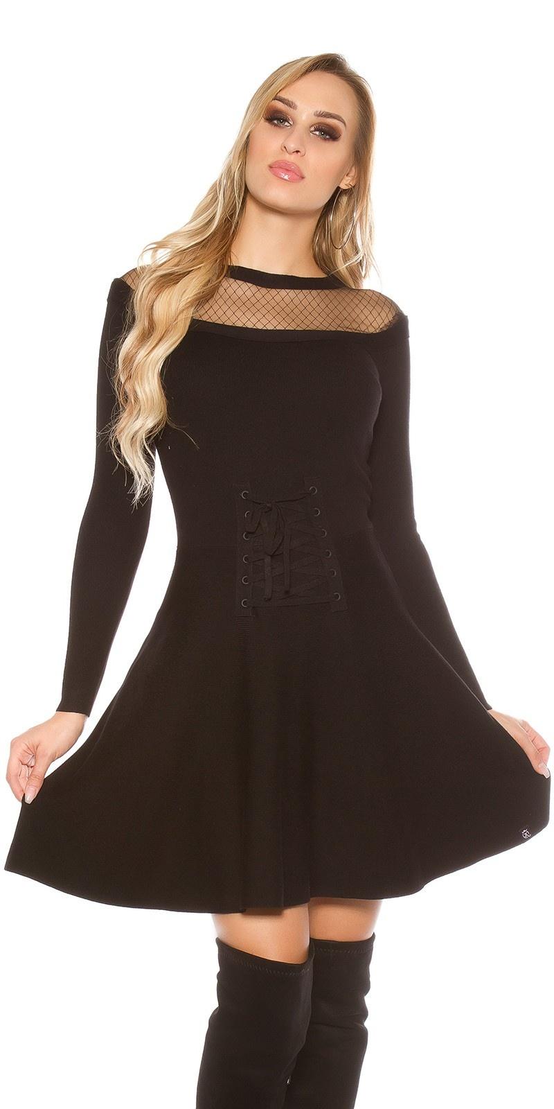 Sexy gebreide jurk met gaasstof & corsage decoratie zwart
