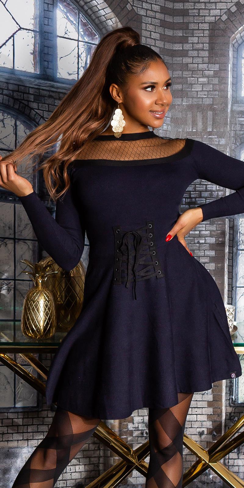 Sexy gebreide jurk met gaasstof & corset detail marineblauw
