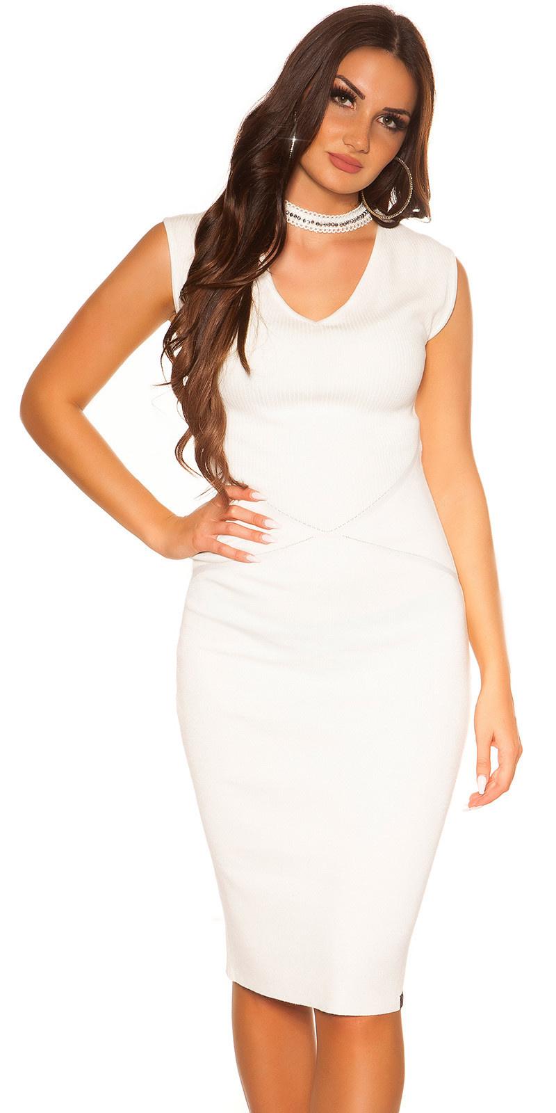 Sexy gebreide jurk met choker & glitter kralen wit