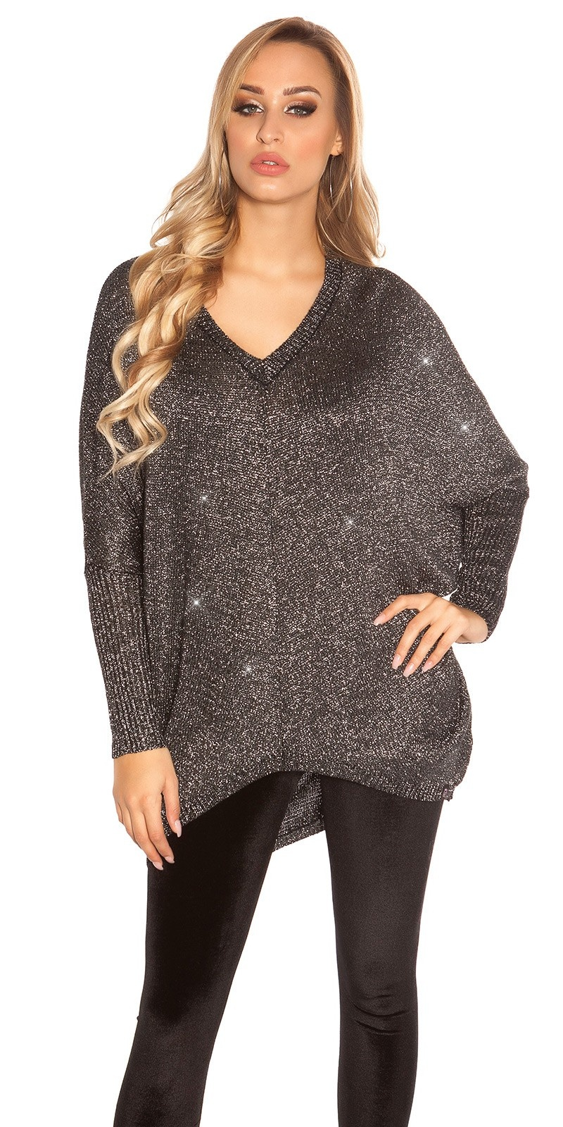 Trendy KouCla V-Cut Oversize Glitter jumper Black
