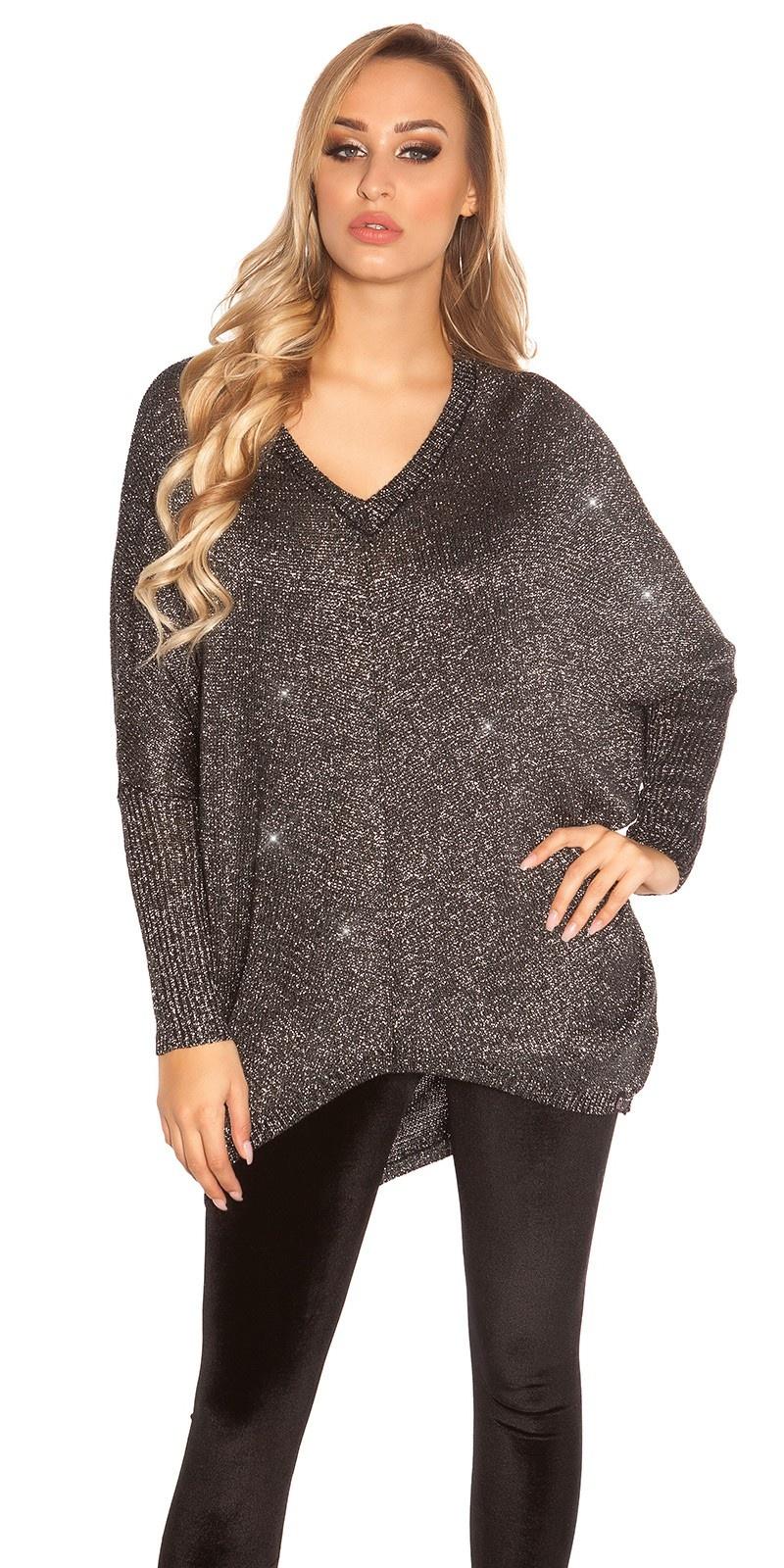 Trendy v-hals oversized glitter trui zwart