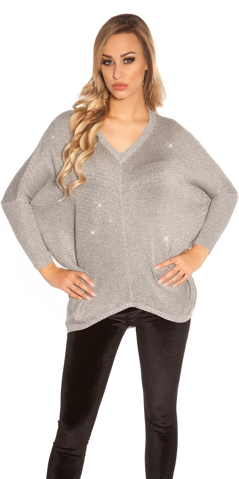 Trendy v-hals oversized glitter trui grijs