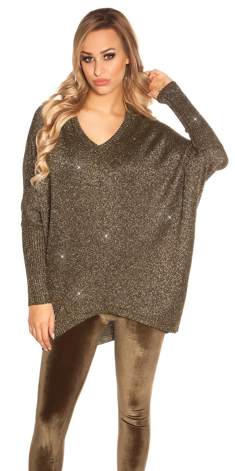 Trendy v-hals oversized glitter trui khaki