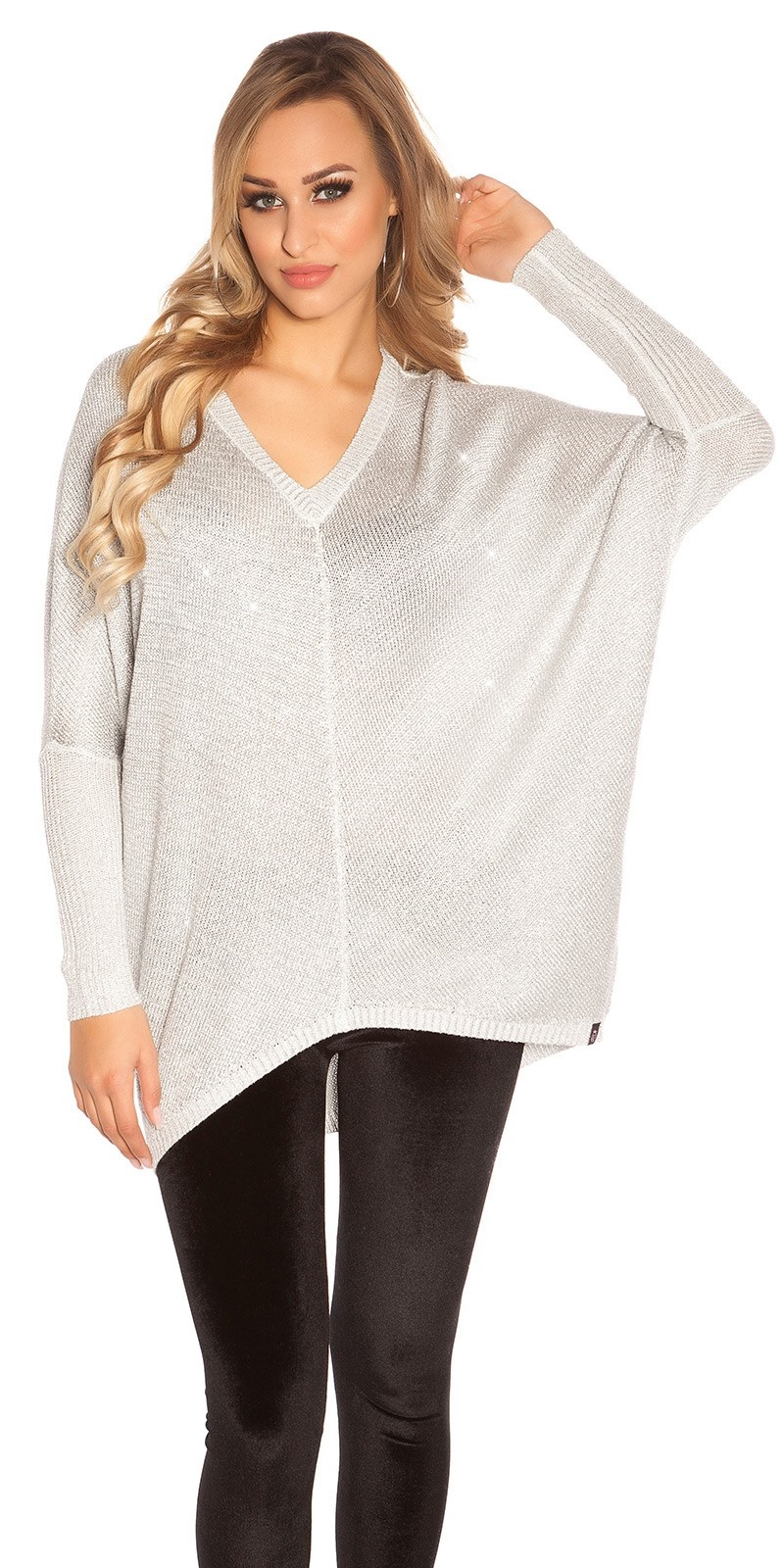 Trendy v-hals oversized glitter trui zilver