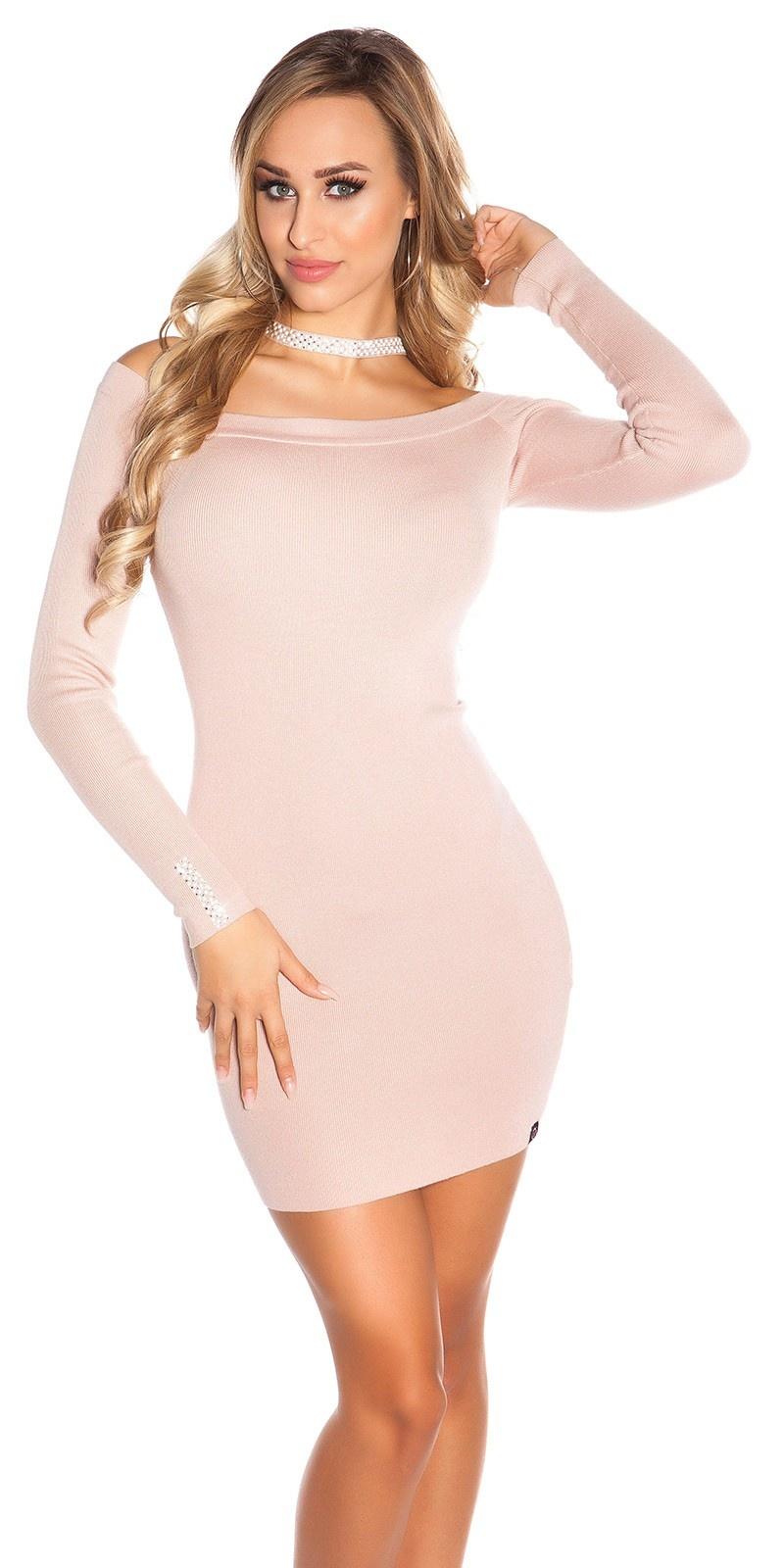 Sexy gebreide jurk met halter strap & strass steentjes antiekroze