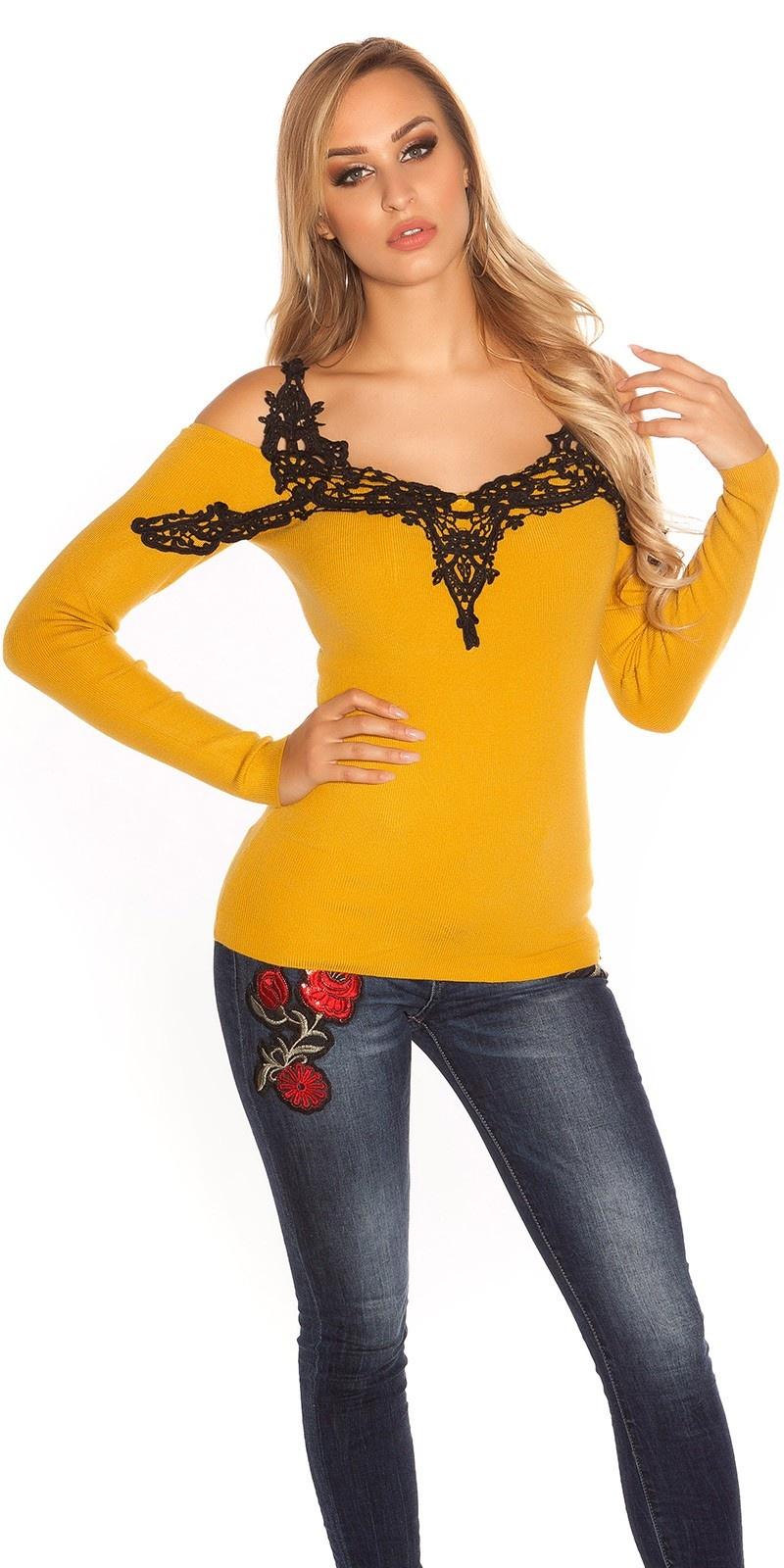 Sexy blote schouder pullover met borduurwerk mosterdgeel