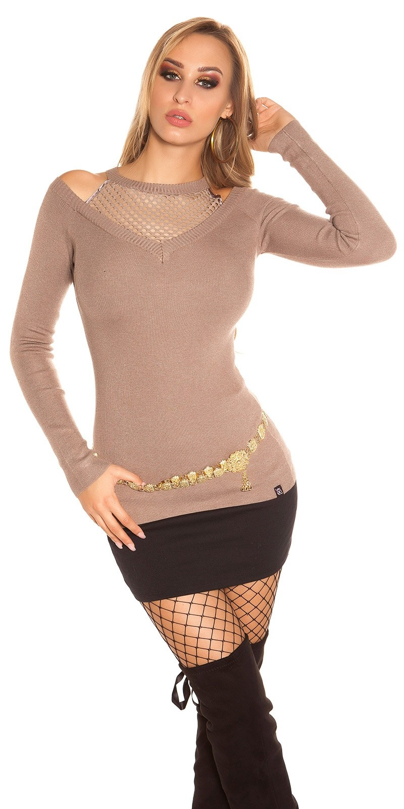 Trendy KouCla sweater with net and cut out Cappuccino