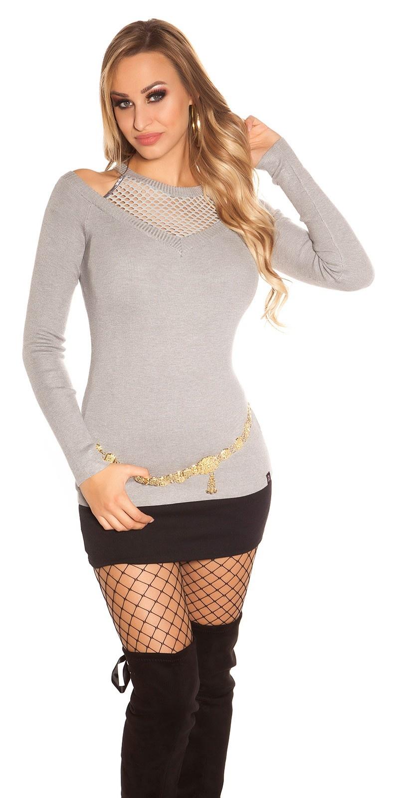 Trendy sweater-trui met net en uitsparing grijs