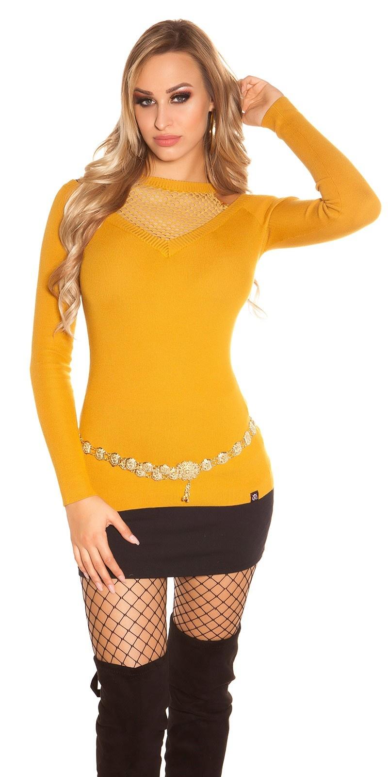 Trendy sweater-trui met net en uitsparing mosterdgeel