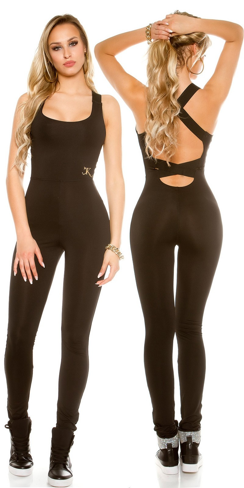 Trendy workout-sport jumpsuit met sexy rug zwart