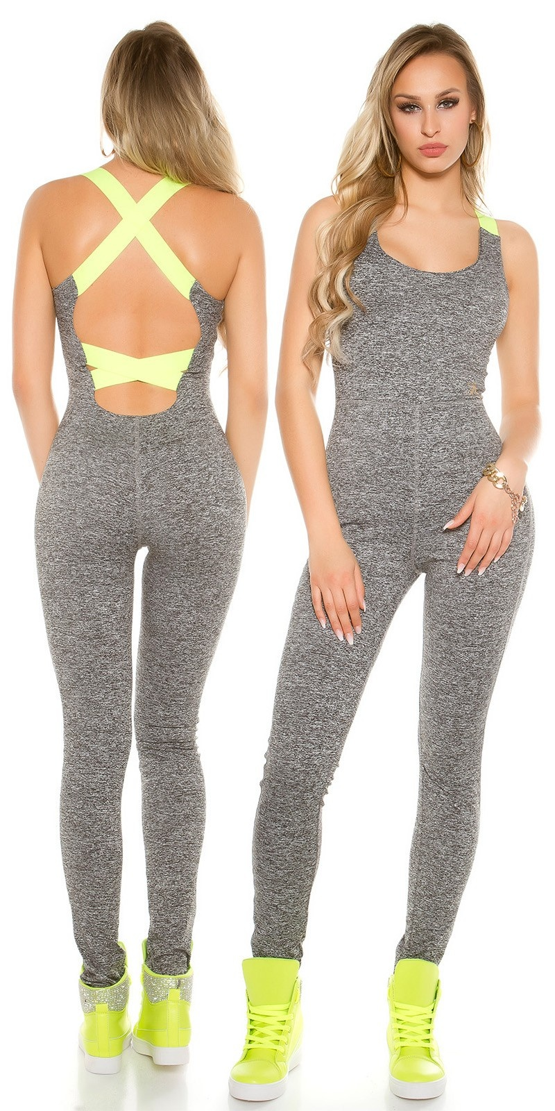 Trendy workout jumpsuit with sexy back Neonyellow