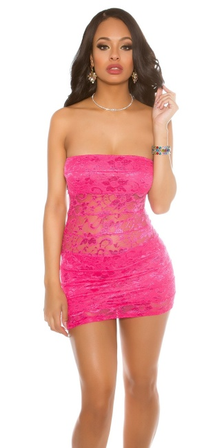 Party-Bandeau-Minidress with lace Fuchsia