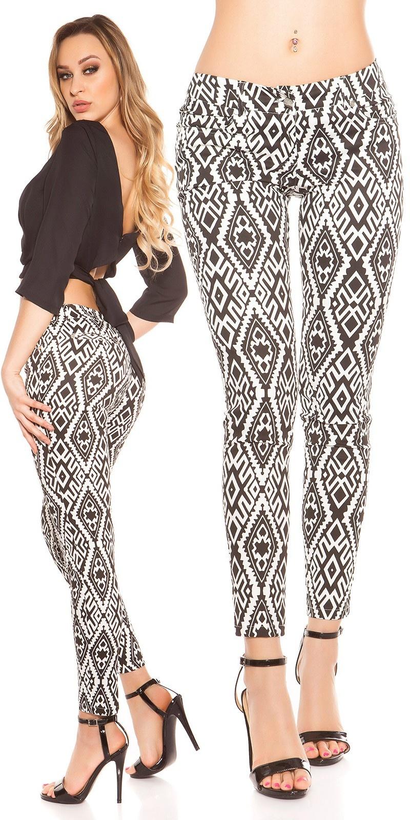 Sexy lowcut skinny met aztekdesign zwartwit