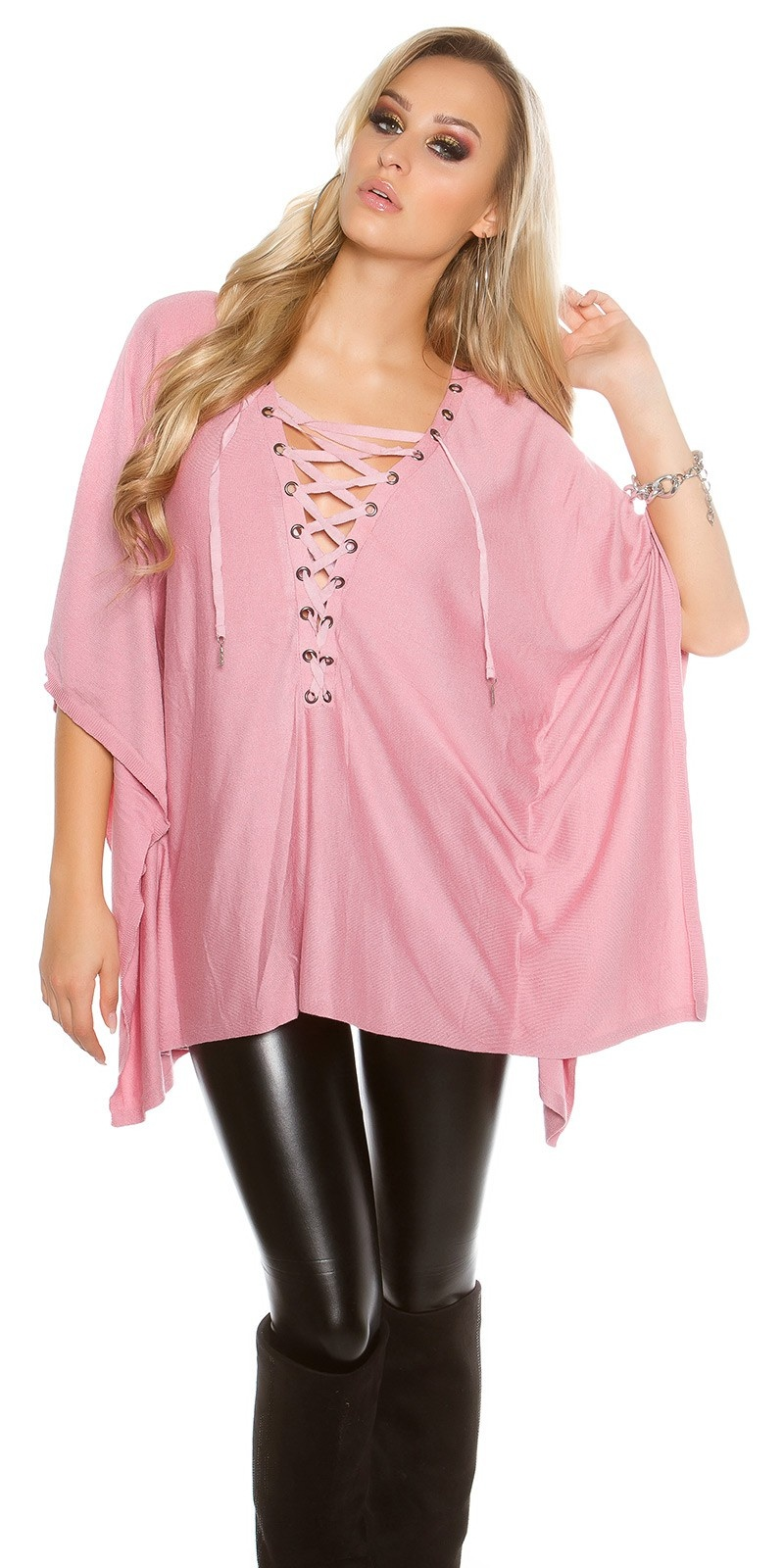 Trendy KouCla bat - poncho look jumper Antiquepink