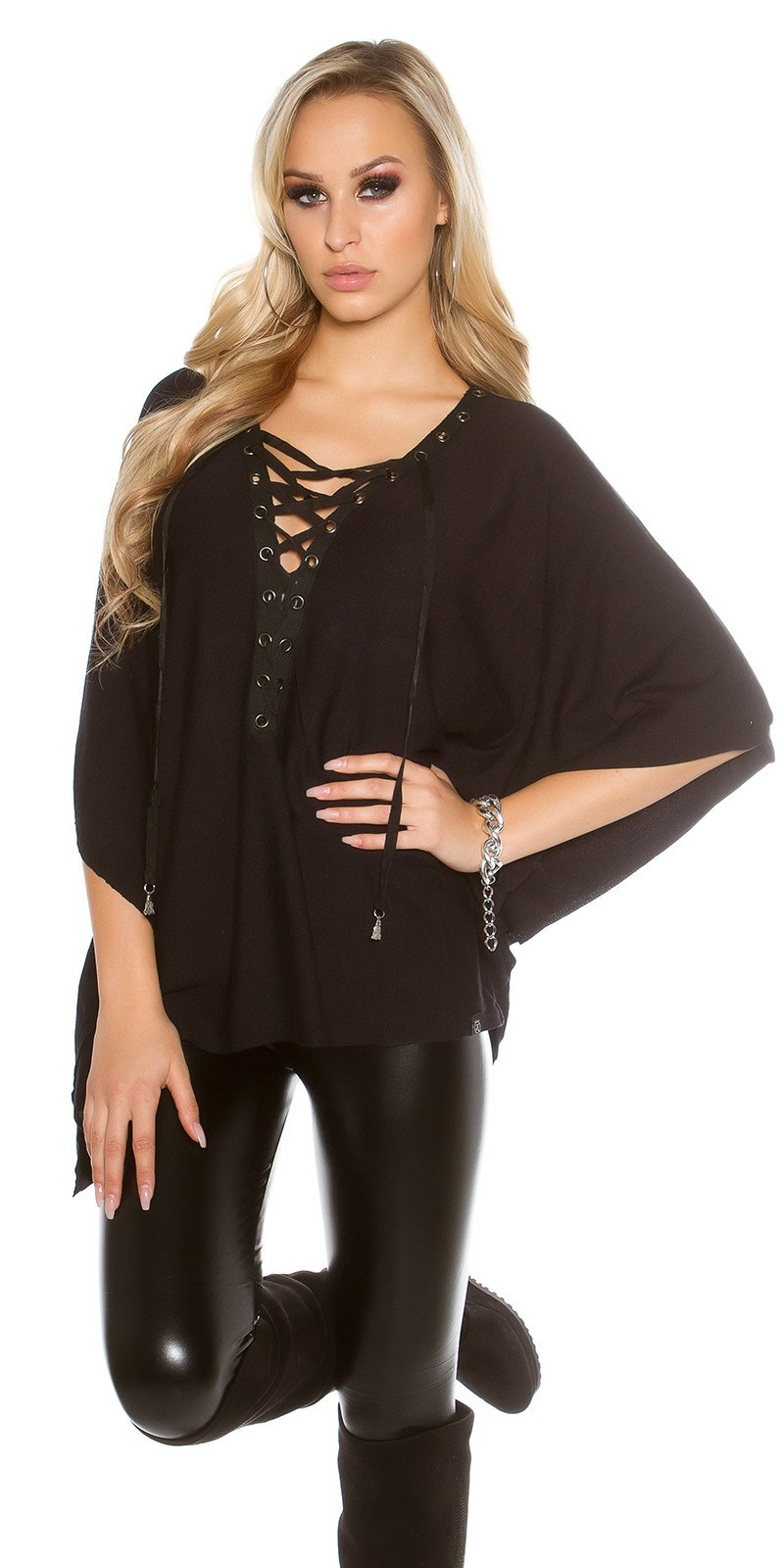 Trendy KouCla bat - poncho look jumper Black