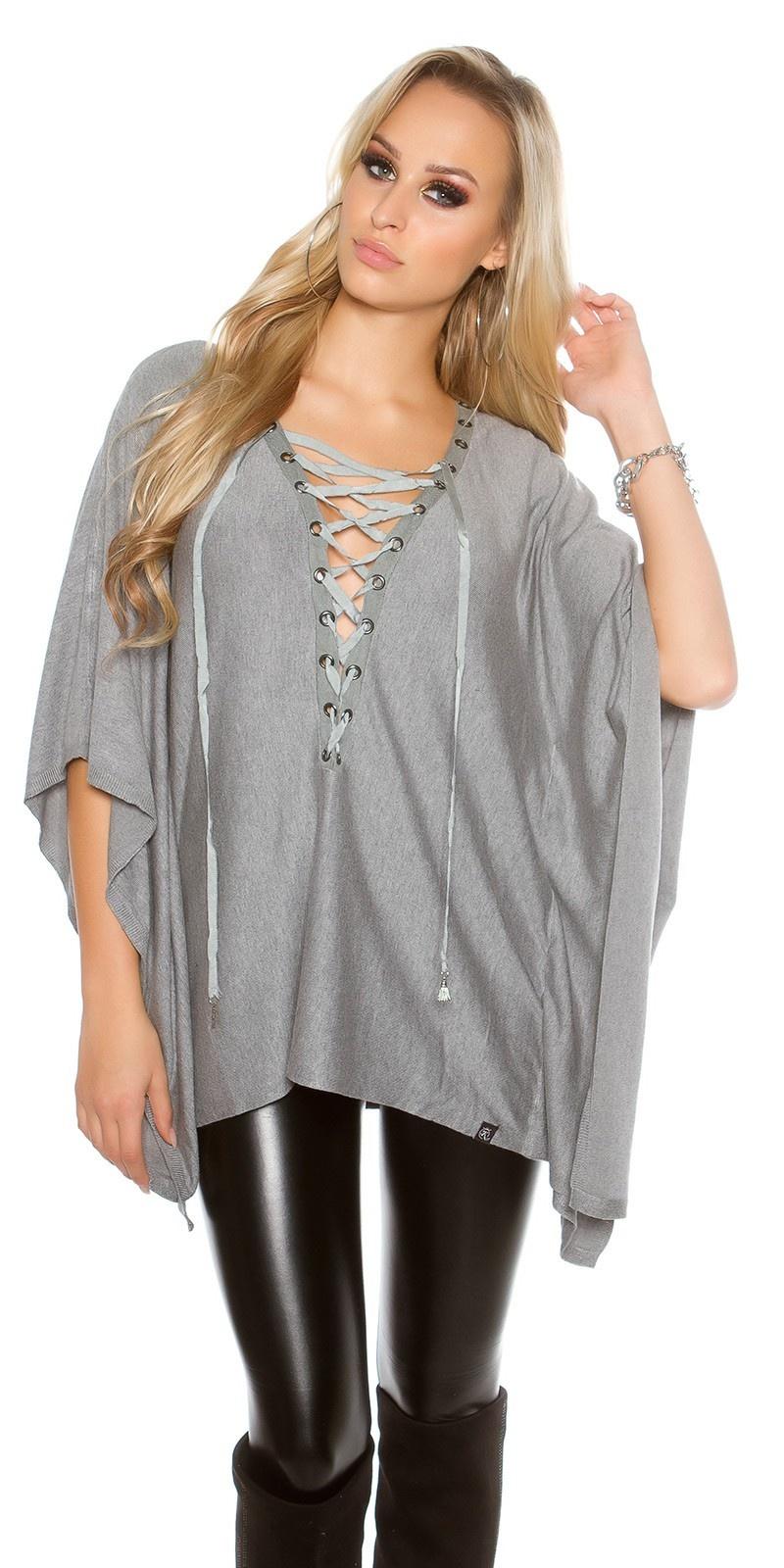 Trendy vleermuis - poncho look trui grijs