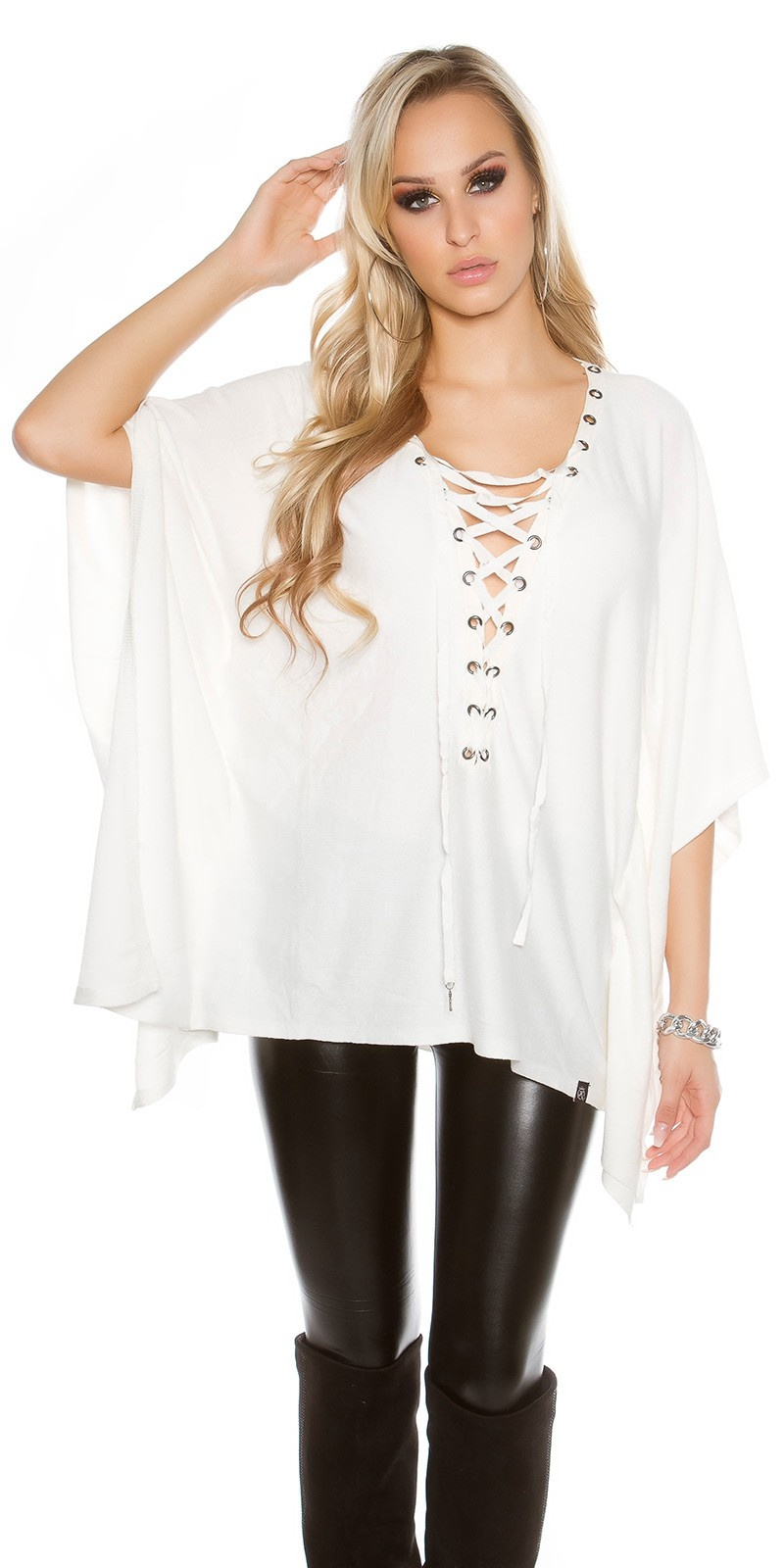 Trendy KouCla bat - poncho look jumper White