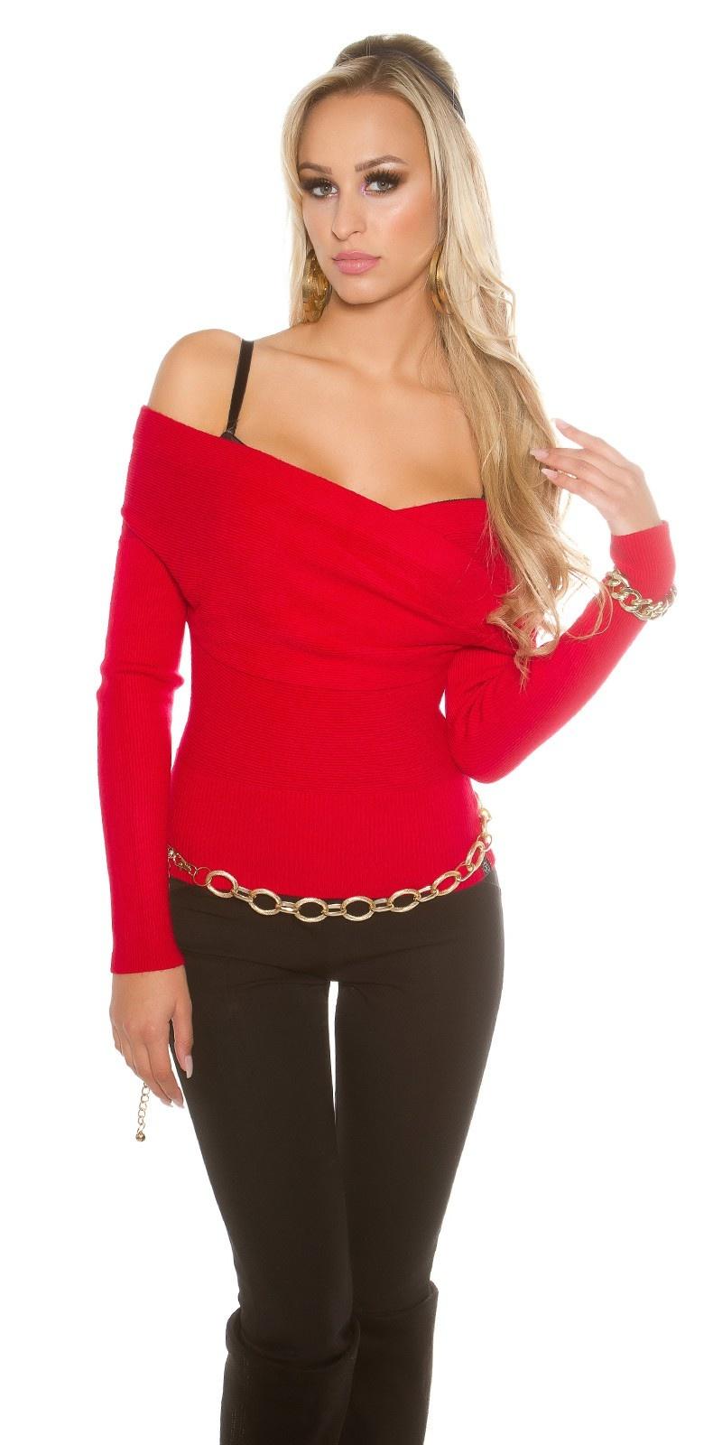 Sexy carmen trui in wikkel look rood