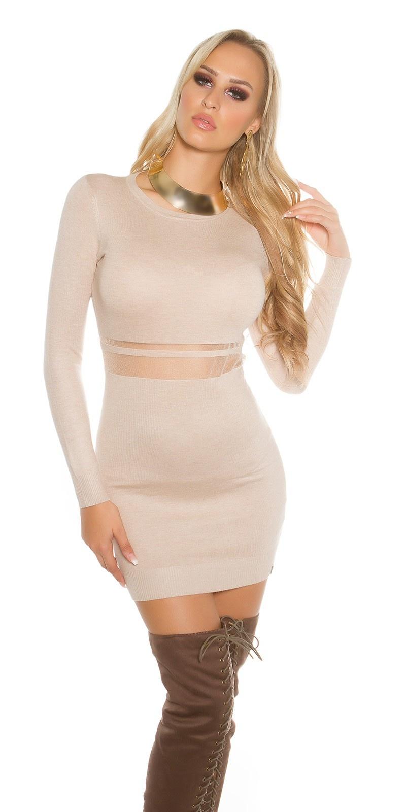 Sexy gebreid mini jurkje met gaasstof beige