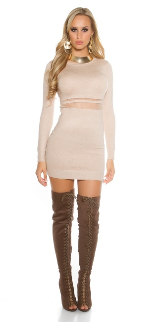 Sexy KouCla knit mini dress with mesh Beige