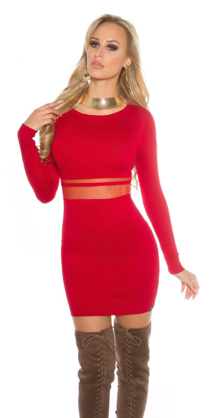 Sexy gebreid mini jurkje met gaasstof rood