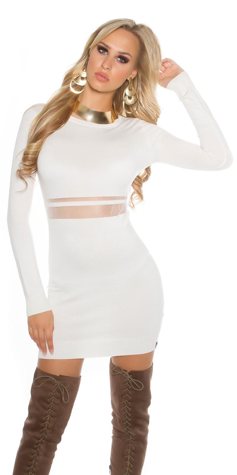 Sexy gebreid mini jurkje met gaasstof wit