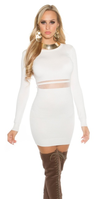Sexy KouCla knit mini dress with mesh White