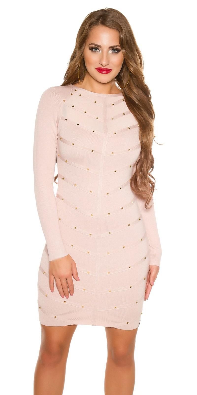 Sexy fijn gebreide jurk met gaasstof & klinknagels antiekroze