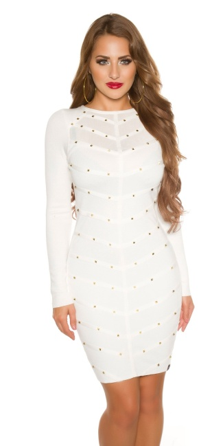 Sexy KouCla fine knit dress with mesh & rivets White