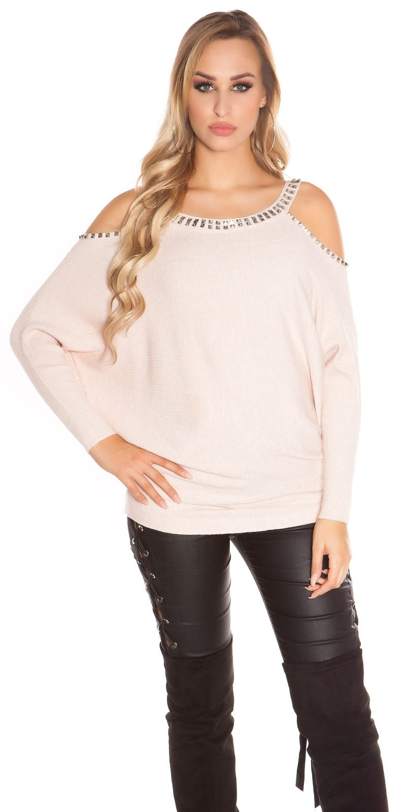 Trendy KouCla Coldshoulder Sweater with rivets Antiquepink
