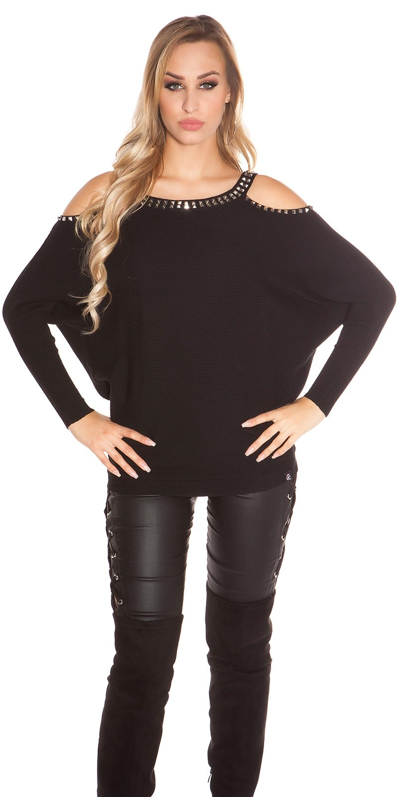 Trendy KouCla Coldshoulder Sweater with rivets Black