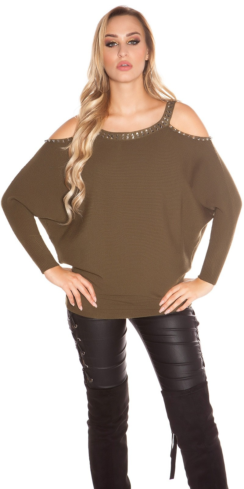 Trendy KouCla Coldshoulder Sweater with rivets Khaki