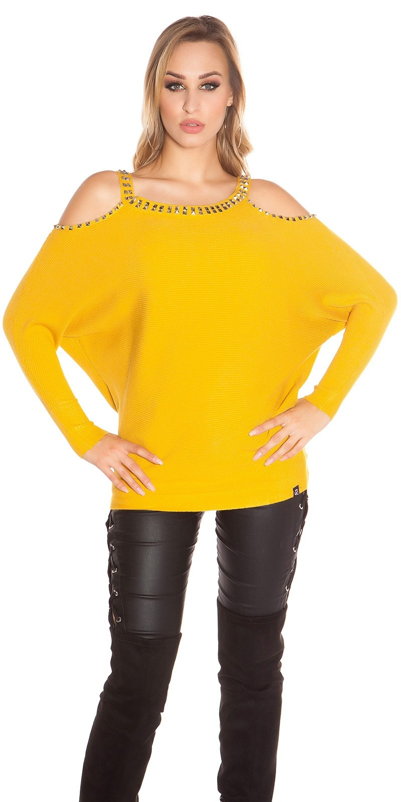 Trendy KouCla Coldshoulder Sweater with rivets Mustard