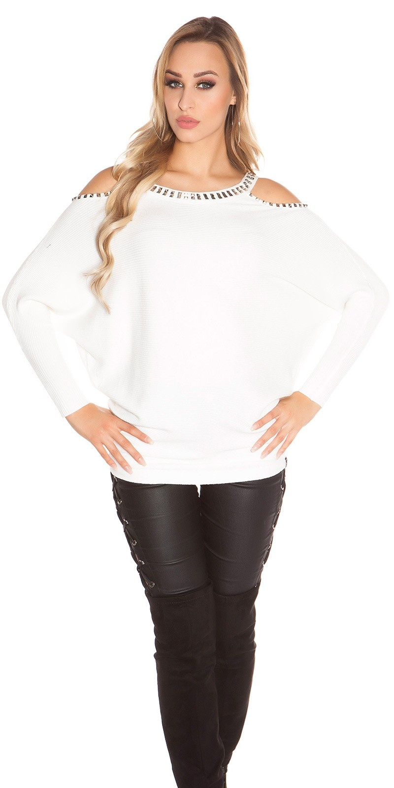 Trendy KouCla Coldshoulder Sweater with rivets White
